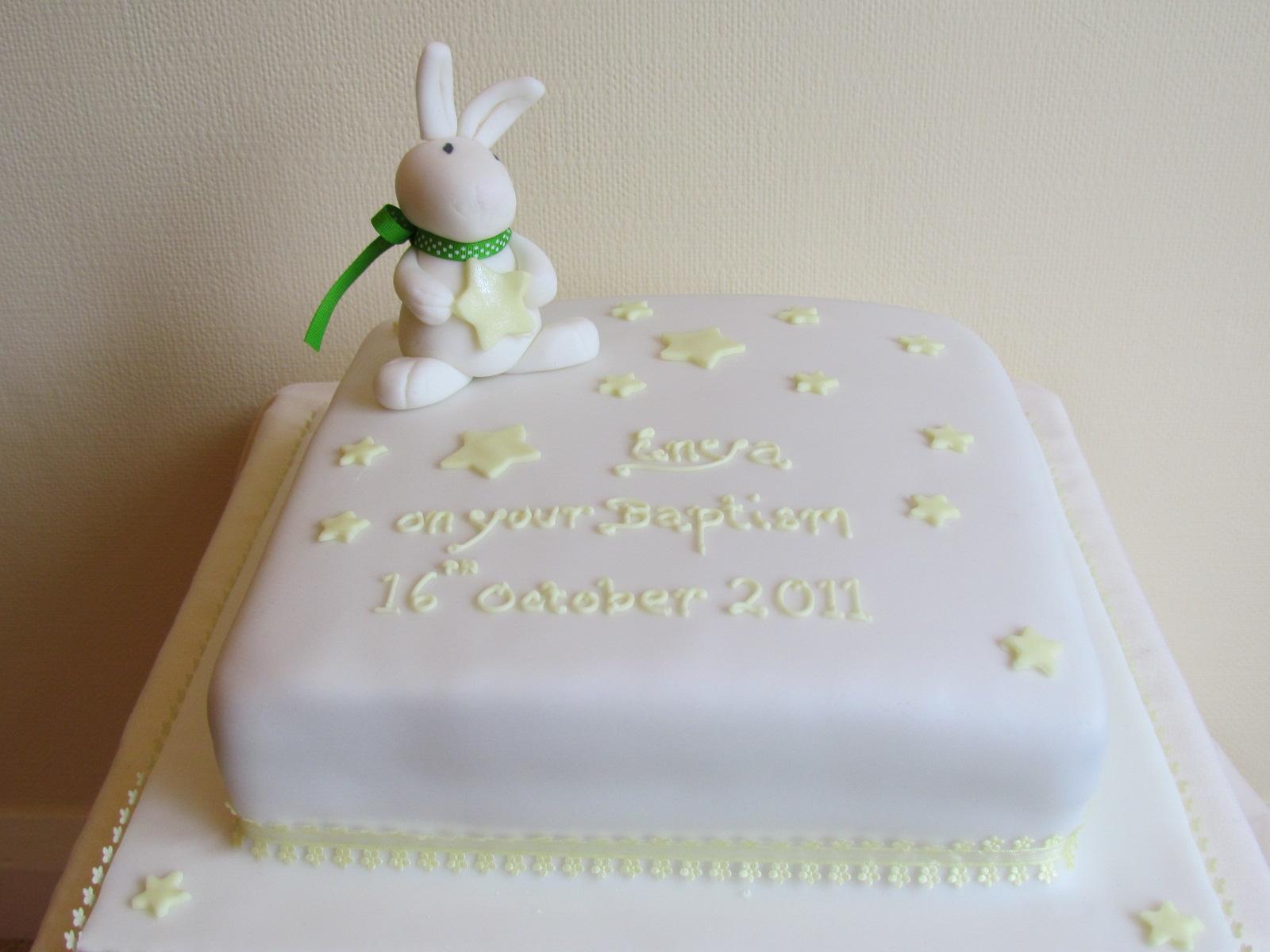 Bunny And Stars Baptism Cakejpg