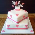 Hearts and Stars Engagement Cake